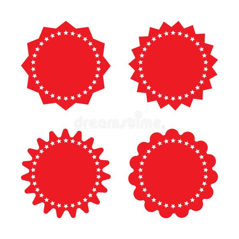 Set of red retro blank starburst, sunburst badges. Vector illustration. Set of red retro blank starburst, sunburst badges. Vector illustration isolated on stock illustration