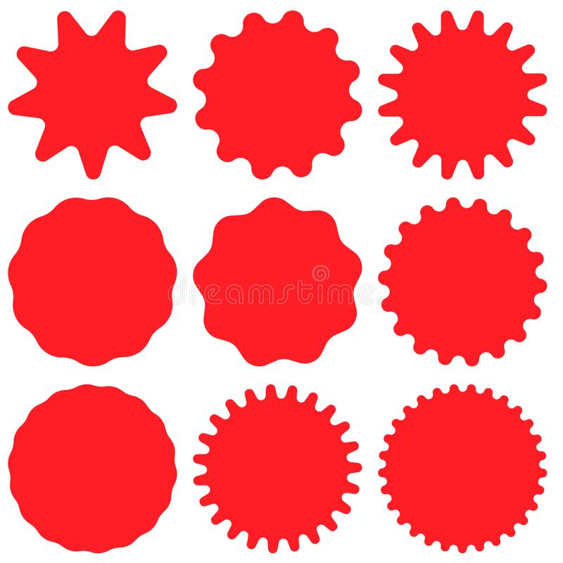 Set of red retro blank starburst, sunburst badges. Vector illustration. Set of red retro blank starburst, sunburst badges. Vector illustration isolated on white stock illustration