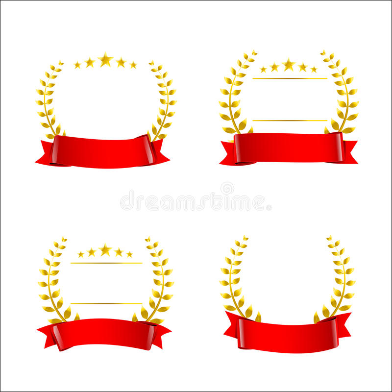 set of red ribbon and gold wreaths blank award template isolate stock vector illustration of. Black Bedroom Furniture Sets. Home Design Ideas