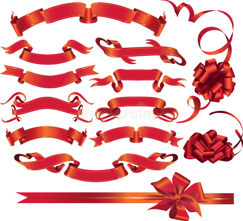Set Of Red Ribbons And Bows. Stock Images