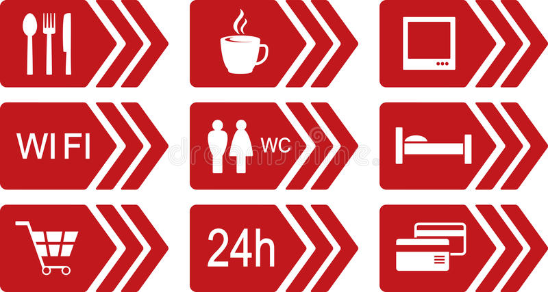 Set of red road icons with arrow
