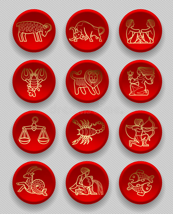 Set of red round icons with gold linear zodiacal signs royalty free illustration