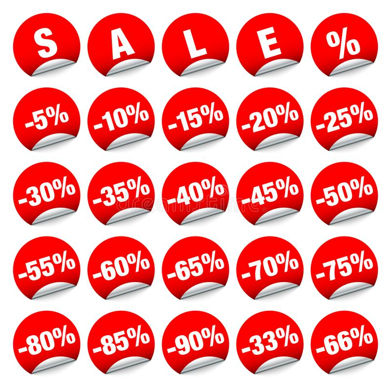 Set Of Red Round Stickers Sale Minus vector illustration