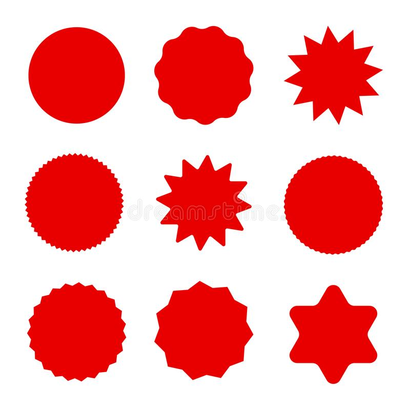 Set of red sale tags vector illustration