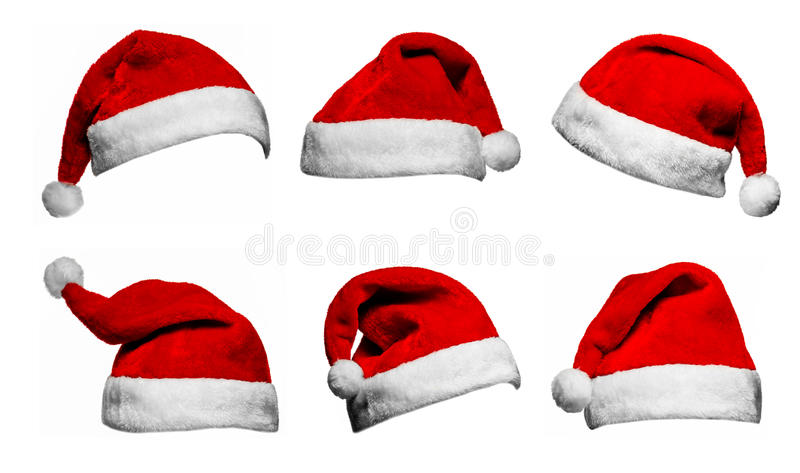 Set of red Santa Claus hats isolated on white background stockbild