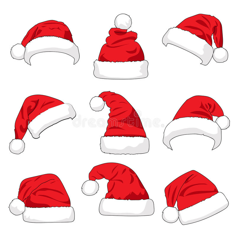Set of red Santa Claus hats vector illustration
