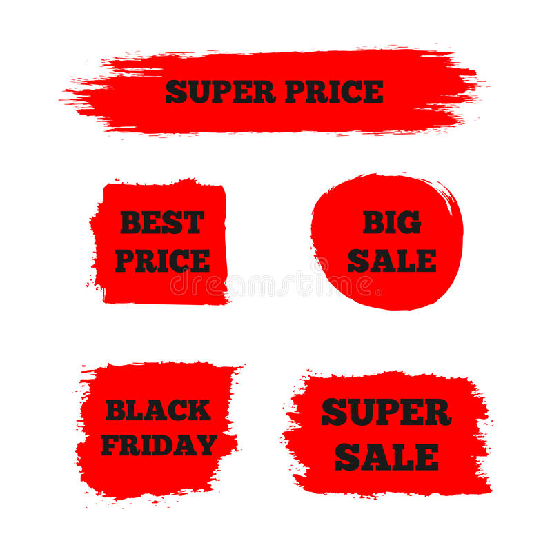 Set of red signs with the text `Best Price`, `Super Sale`, `Big Sale`, `Black Friday`. royalty free illustration