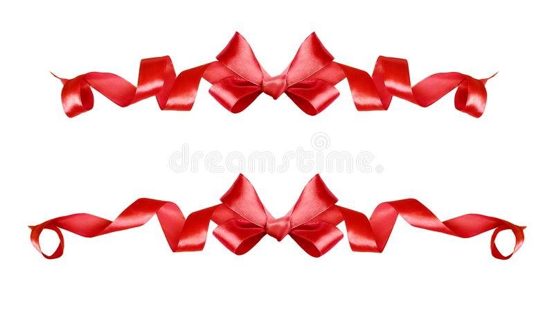Set of red silk ribbons bows stock illustration