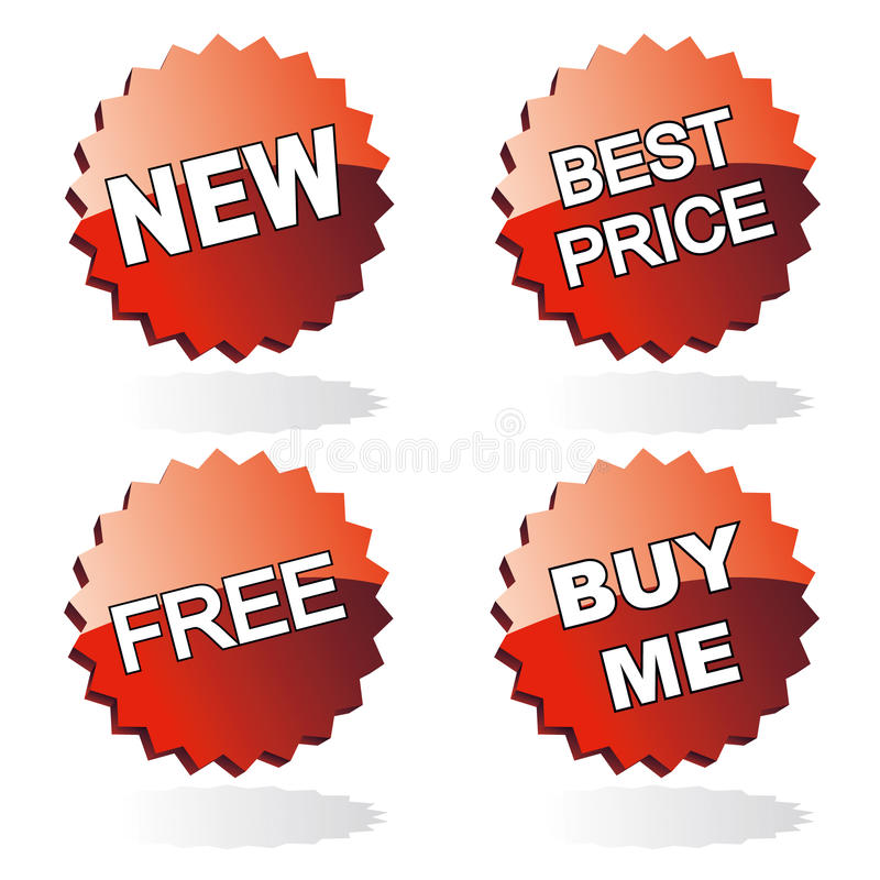 Set of red stickers. Set of red retail stickers - new, best price, free, buy me royalty free illustration