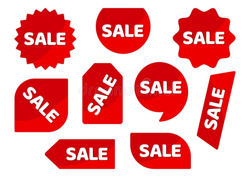 Set of red stickers, advertising badges with white inscription SALE. Vector. Illustration vector illustration