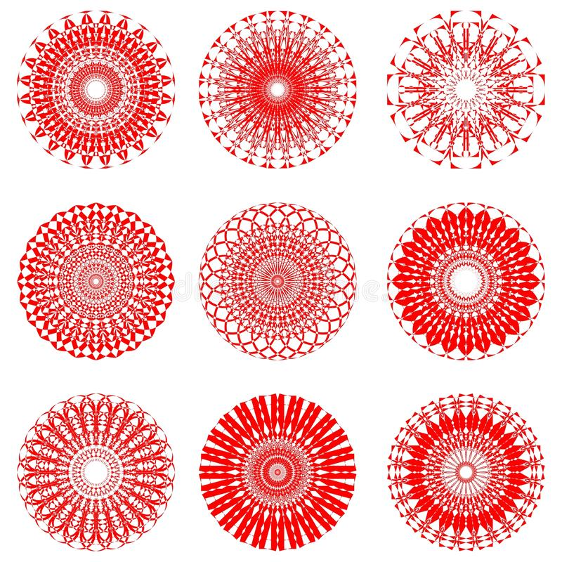 A set of red symmetric circle patterns in filigree lace design. A set of red symmetric circle folklore patterns in filigree lace design vector illustration