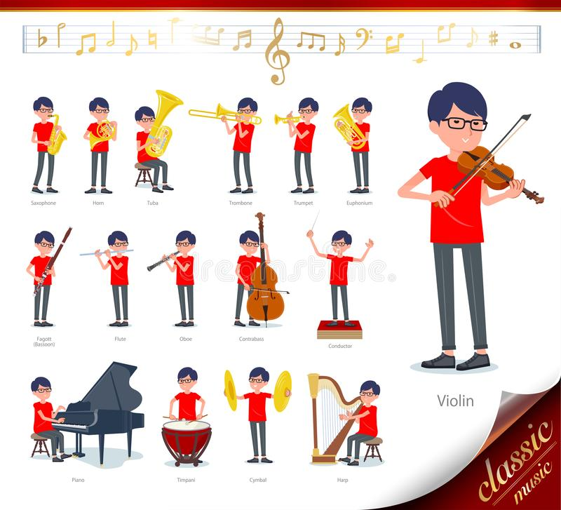 Flat type red Tshirt Glasse men_classic music. A set of red T-shirt man on classical music performances.There are actions to play various instruments such as stock illustration