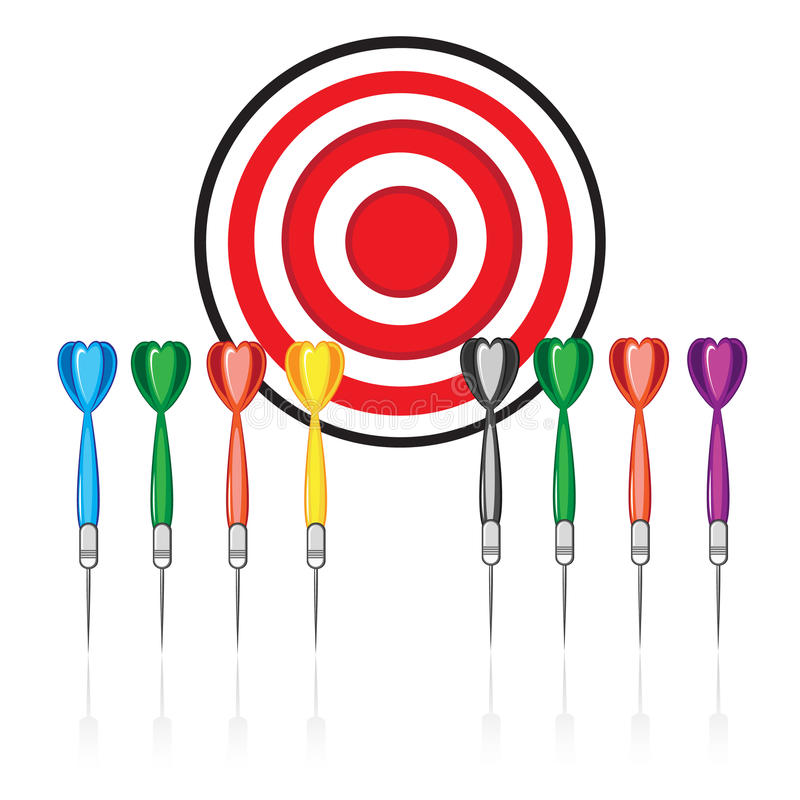 Set of red target and colorful darts vector illustration