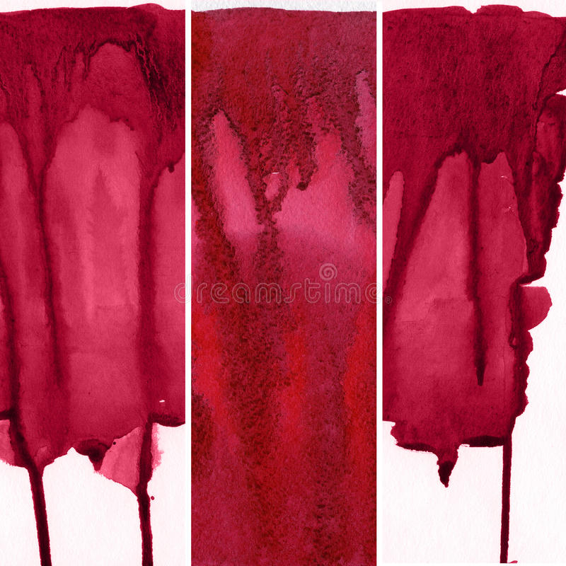 Set of red watercolor backgrounds vector illustration