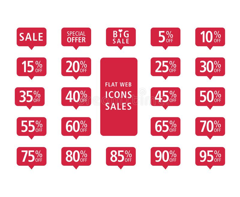 Set of red web flat icons sales vector illustration