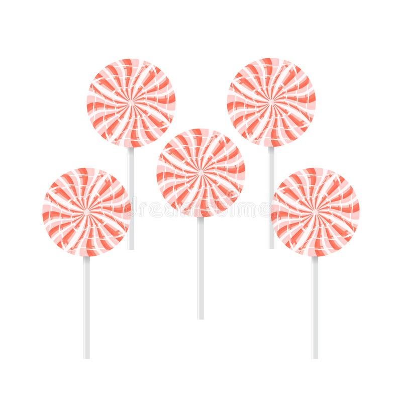 Set of red and white lollipops isolated. Over a white background, three, color, fun, large, striped, colorful, bright, orange, food, tasty, delicious, sweet stock photography