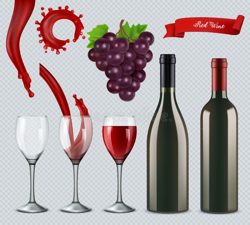 Set of red wine. Glasses, bottles, splash, grapes. 3d realistic vector stock illustration