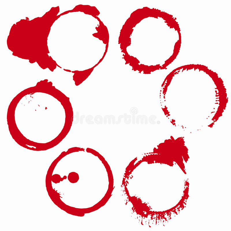 Set of 6 red wine stains isolated on white background royalty free illustration