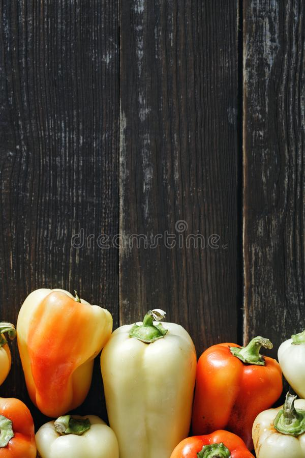 Set red yellow homemade pepper dark background border top view stock photos