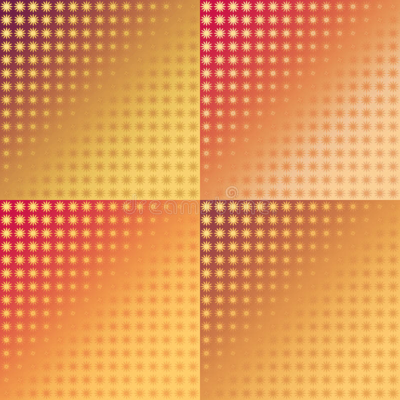 Set of red and yellow ikat seamless patterns stock illustration