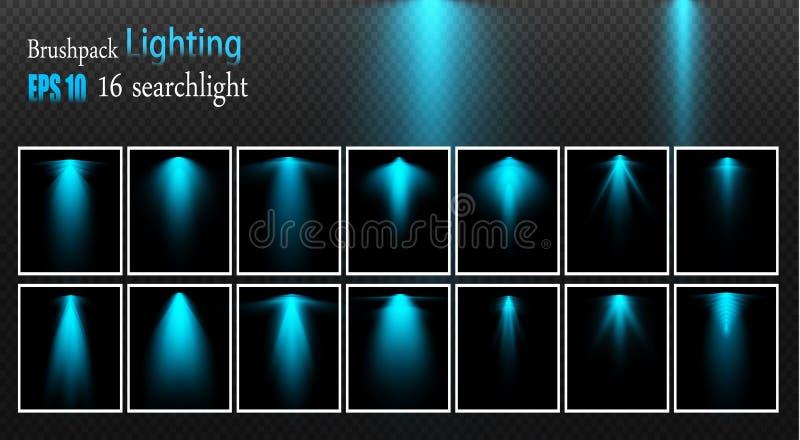 Set reflektory Wektorowi źródło światła, koncertowy oświetlenie, stalowi floodlights Koncertowy światło reflektorów z promieniem ilustracja wektor