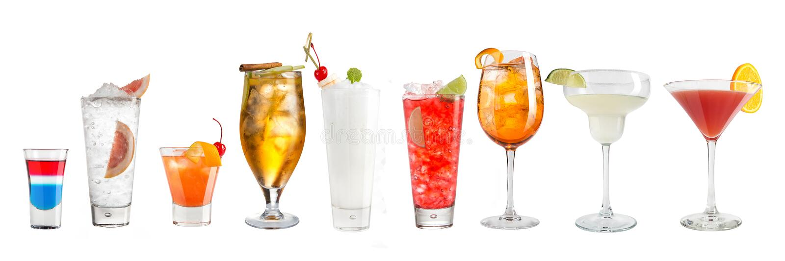 Set of refreshing popular cocktails on a white background. Isolated stock image