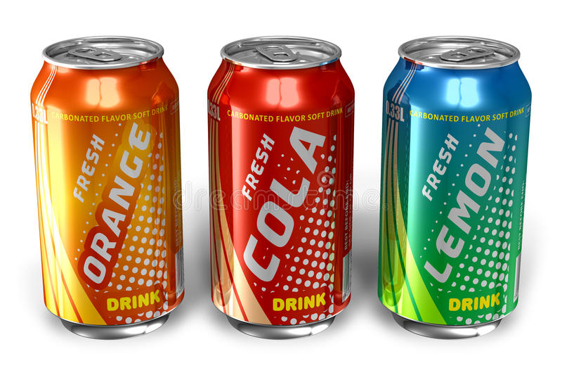 Set of refreshing soda drinks in metal cans stock illustration