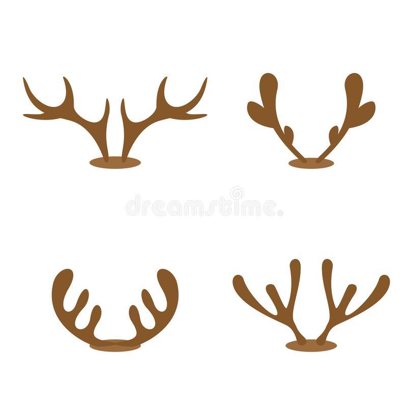 Set of reindeer antlers. Set of brown reindeer antlers isolated on white background, illustration vector illustration