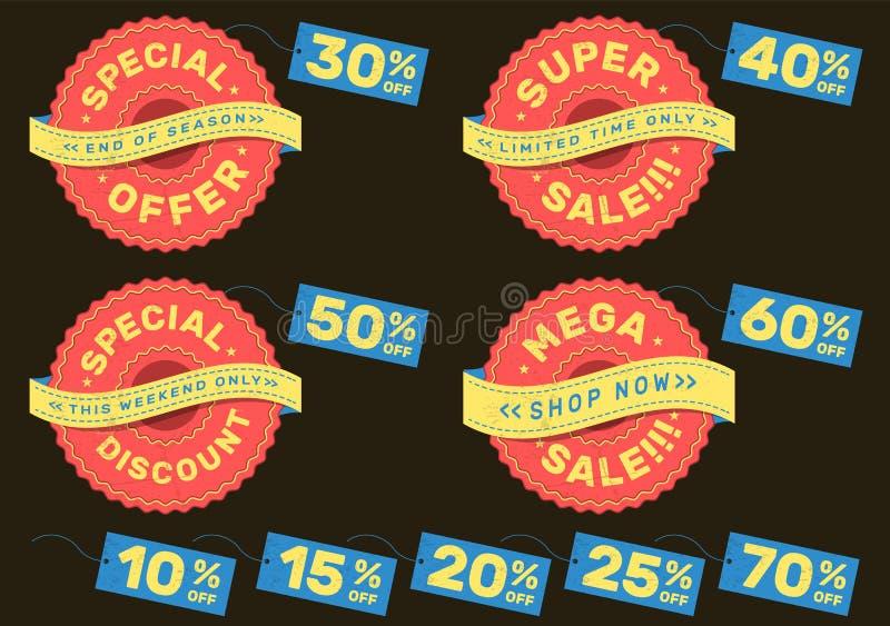 Set reklam etykietki dla super sprzedaży, oferty specjalnej, megiej sprzedaży i specjalnego rabata, ilustracja wektor