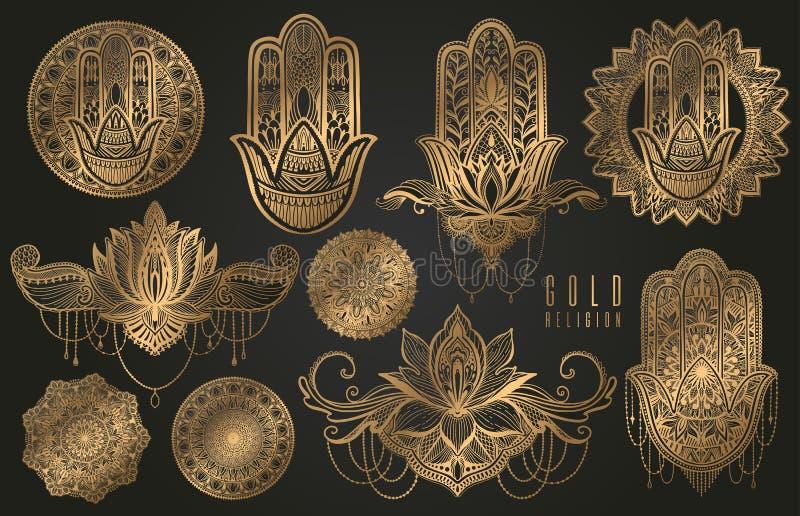 Set religijnego buddyzmu orientalni elementy złocisty kolor Hamsa talizman, mandala, lotosowy kwiat Złocisty gradientowy element  royalty ilustracja