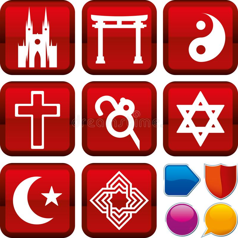 Set of religion icons on square buttons. Geometric style. stock illustration