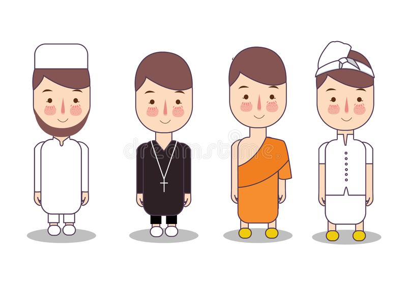 Set of religion people. Different characters collection buddhist monk, christian priests, muslim, hindu leader. Concept vector illustration
