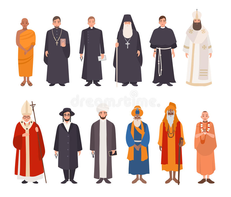 Set of religion people. Different characters collection buddhist monk, christian priests, patriarchs, rabbi judaist vector illustration