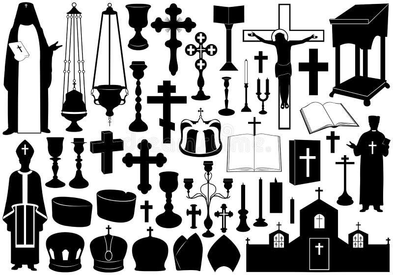 Set Of Religious Elements stock illustration