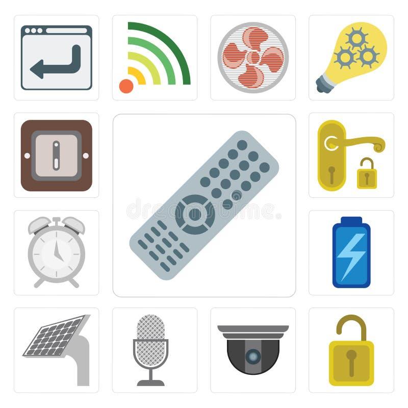 Set of Remote, Unlock, Security camera, Voice control, Panel, Ba stock illustration