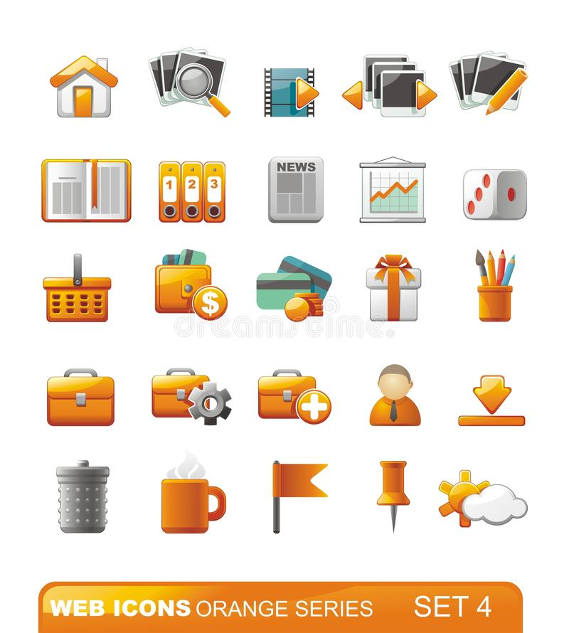 set rengöringsduk för 4 serie för symboler orange vektor illustrationer