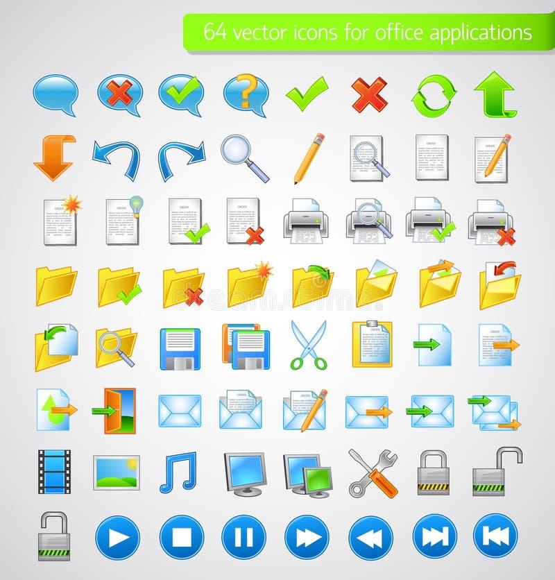 set rengöringsduk för applikationsymbolskontor royaltyfri illustrationer