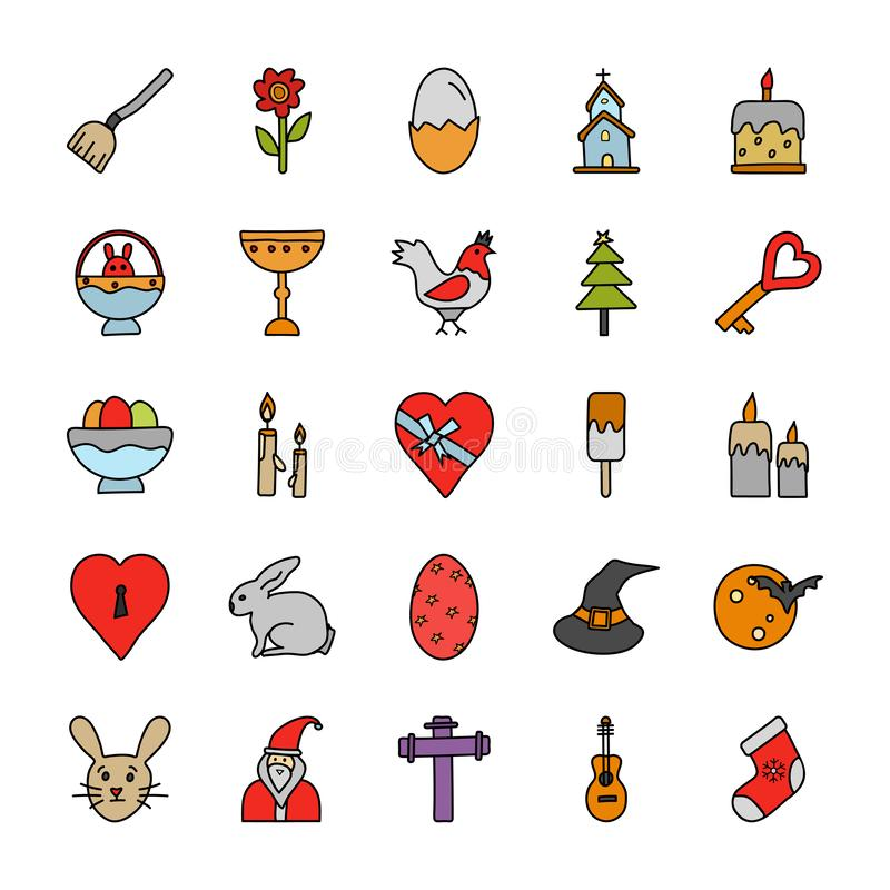 Occasions Doodle Icons Pack royalty free illustration