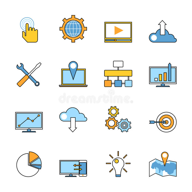 Set of responsive web development line icons. Flat. Style design. Web programming process and mobile app UI making items for SEO infographics and logo design vector illustration