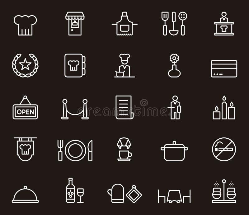 Set restauracj powiązane ikony ilustracji