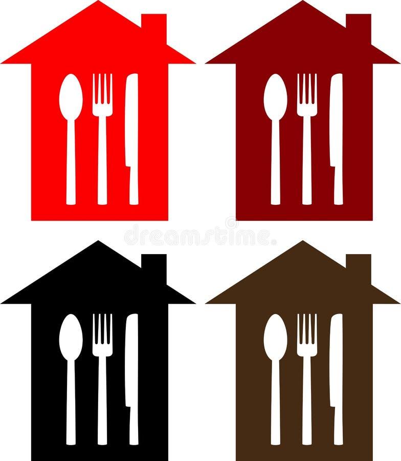 Set restauracja znak z łyżką, rozwidleniem i nożem, royalty ilustracja