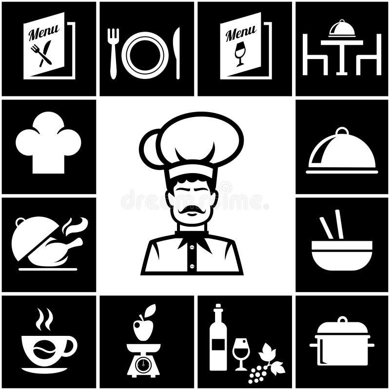 Set restauracyjne ikony w bielu na czerni ilustracji