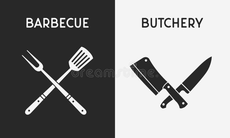 Set restauracyjne n?? ikony Sylwetka grilla i Butchery ikony Projektuje elementy dla restauracji, bar, butchery logo, emb ilustracji