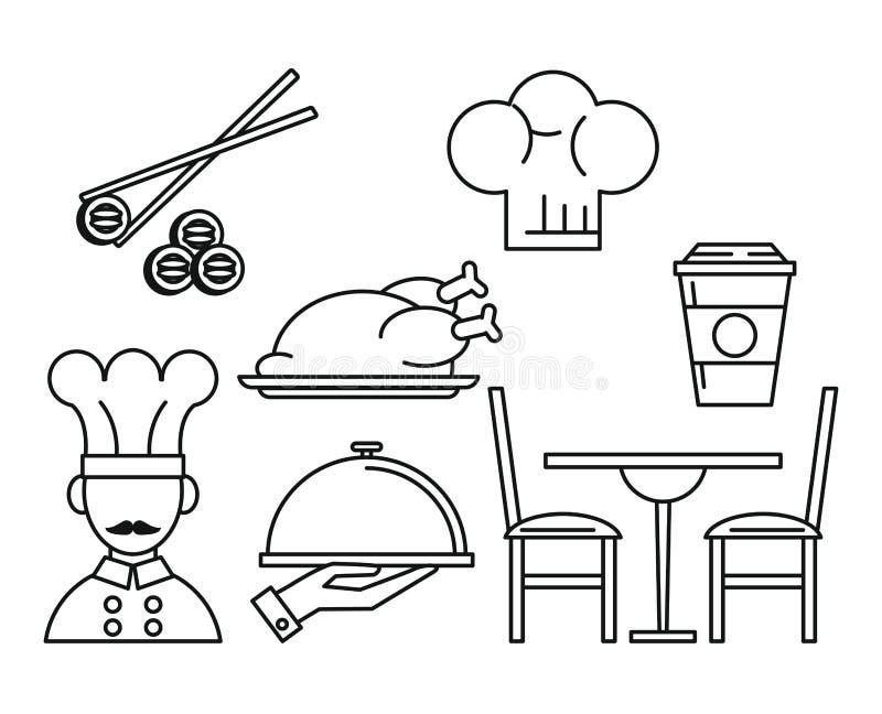 Set restauracyjnych i karmowych ikon czarny i biały linie ilustracji