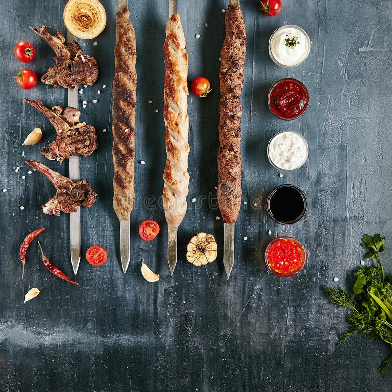 Set of Restaurant Barbecue Menu with Grilled Lamb Loin and Various Lyulya Kebabs royalty free stock photos