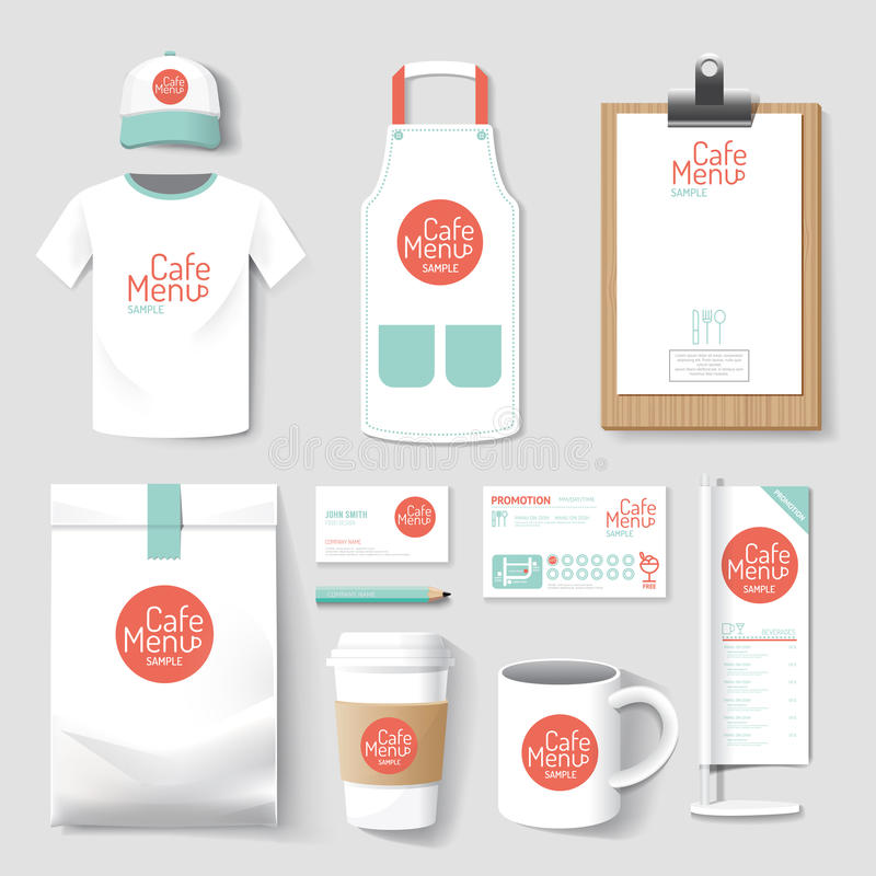 Set of restaurant and coffee shop uniform corporate identity design. vector illustration royalty free illustration