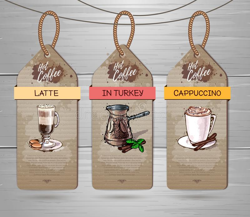 Set of Restaurant labels of coffee menu design. On cardboard stock illustration