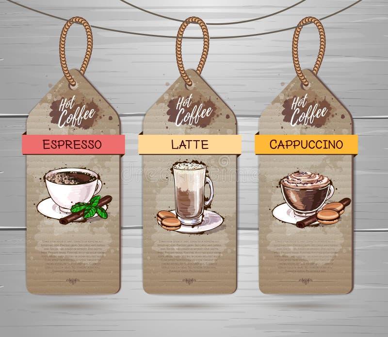 Set of Restaurant labels of coffee menu design. On cardboard vector illustration