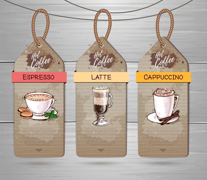 Set of Restaurant labels of coffee menu design. On cardboard royalty free illustration