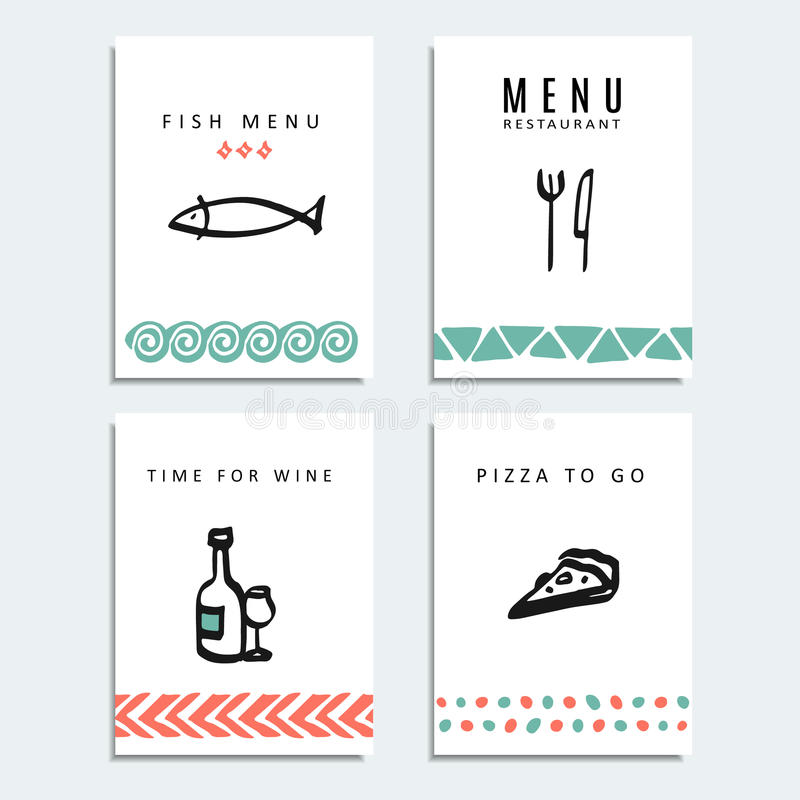 Set of restaurant menu cards with food line sketch icons, stock illustration